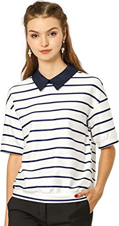 Allegra K Blusa Top De Rayas Color De Contraste Camisas De Polo ...