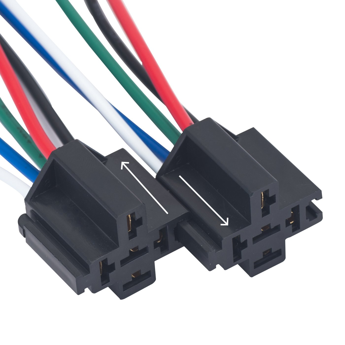 Vluxparts 5 Pack 40 30 Amp Waterproof Relay Switch Harness Set 12v Pin Connector Dc
