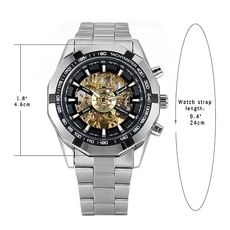 8f4afdcf8d5d Lancardo Reloj Comercial Mecánico Automático con Dial Hueco de Metal Pulsera  Casual de Moda con Correa de Acero Inoxidable para Viaje Negocios para  Hombre ...