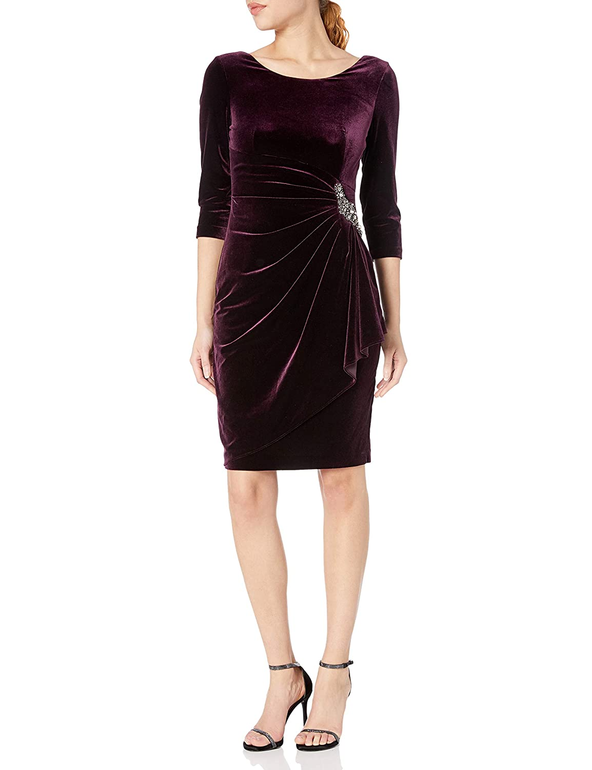 Alex Evenings Womens Velvet Dress with Sleeve and Hip Detail Regular and Petite