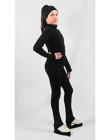 Pantaloni Lunghi da Allenamento Elasticizzati con Cristalli per Bambina E Bambini Heart/&M Pantaloni da Pattinaggio su Ghiaccio