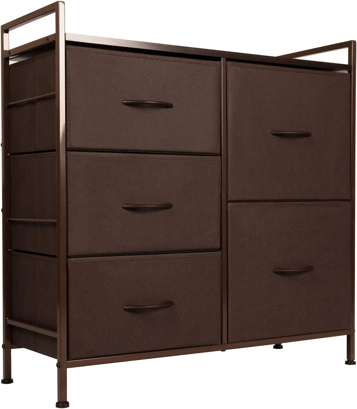 ODK Dresser with 5 Drawers, Fabric Storage Tower, Organizer Unit for Bedroom, Chest for Hallway, Closet. Steel Frame and Wood Top, Brown