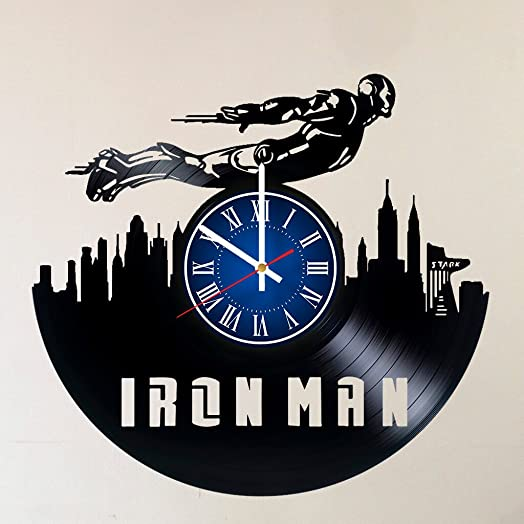 MY GIFT STORE IRON MAN 12 INCH 30 CM VINYL RECORD WALL CLOCK MARVEL UNIVERSE INFINITY WAR AVENGERS GIFT FOR BOYS – Gift idea for children, teens, adults