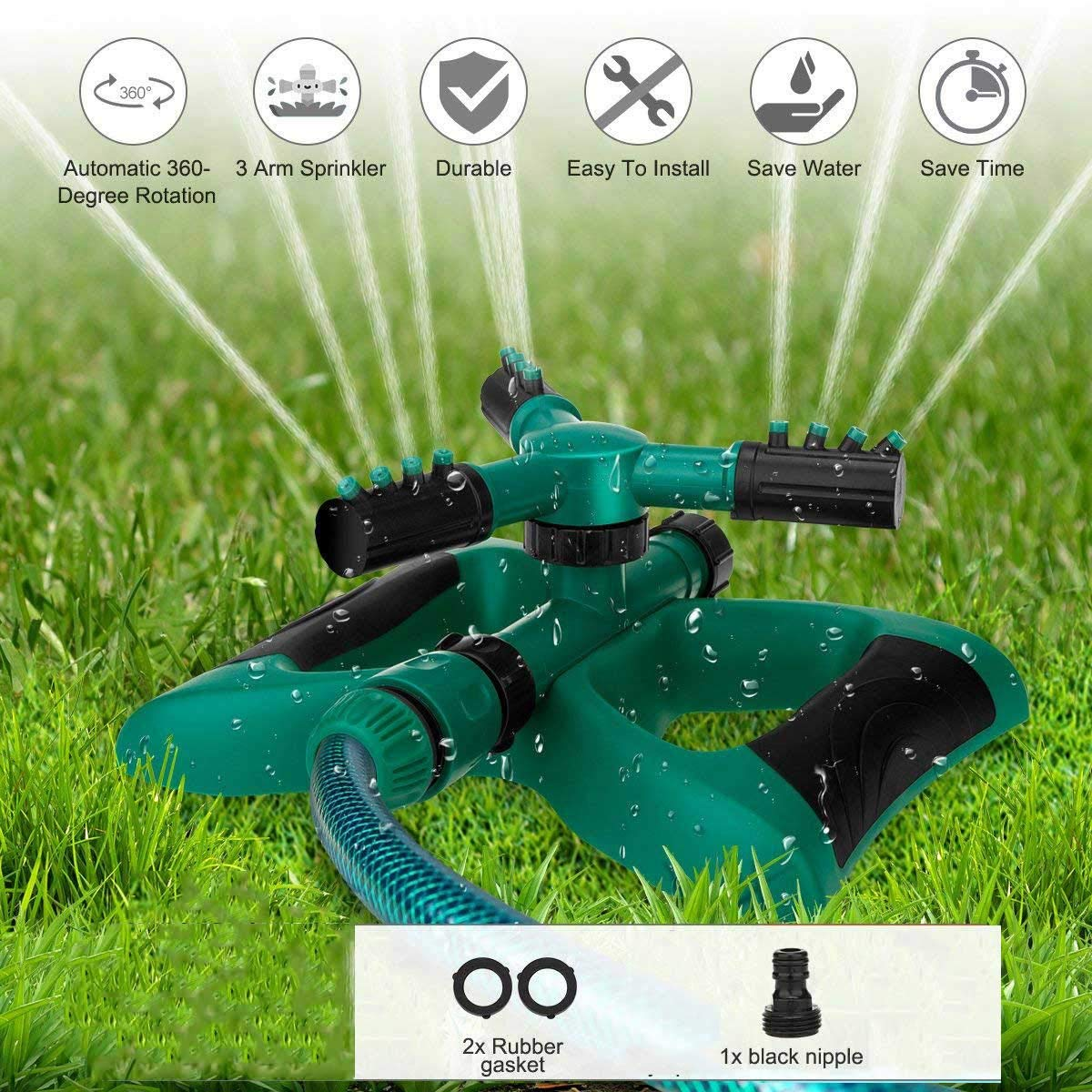 Durable Lawn Sprinkler, Water Sprinklers for Lawn, Garden, Yard, Flower, Grass, Plant, Park, 360 Degree Rotating Sprinkler Irrigation System, Adjustable Spray Angle and Distance - Up to 3600 sq.ft.