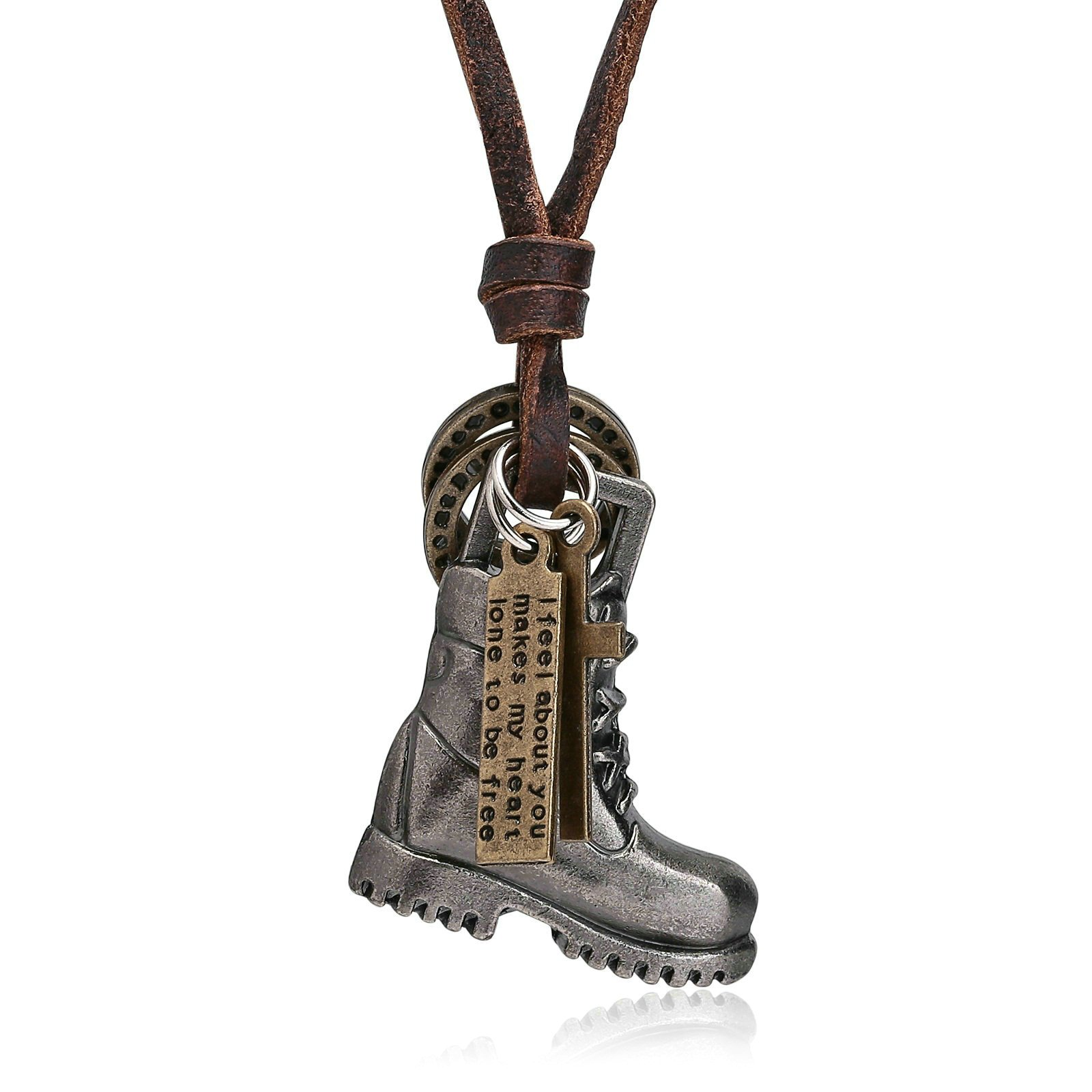 Jewelry Leather Neckalce for Mens Silver Boots Pendant Women Stainless Steel Necklace
