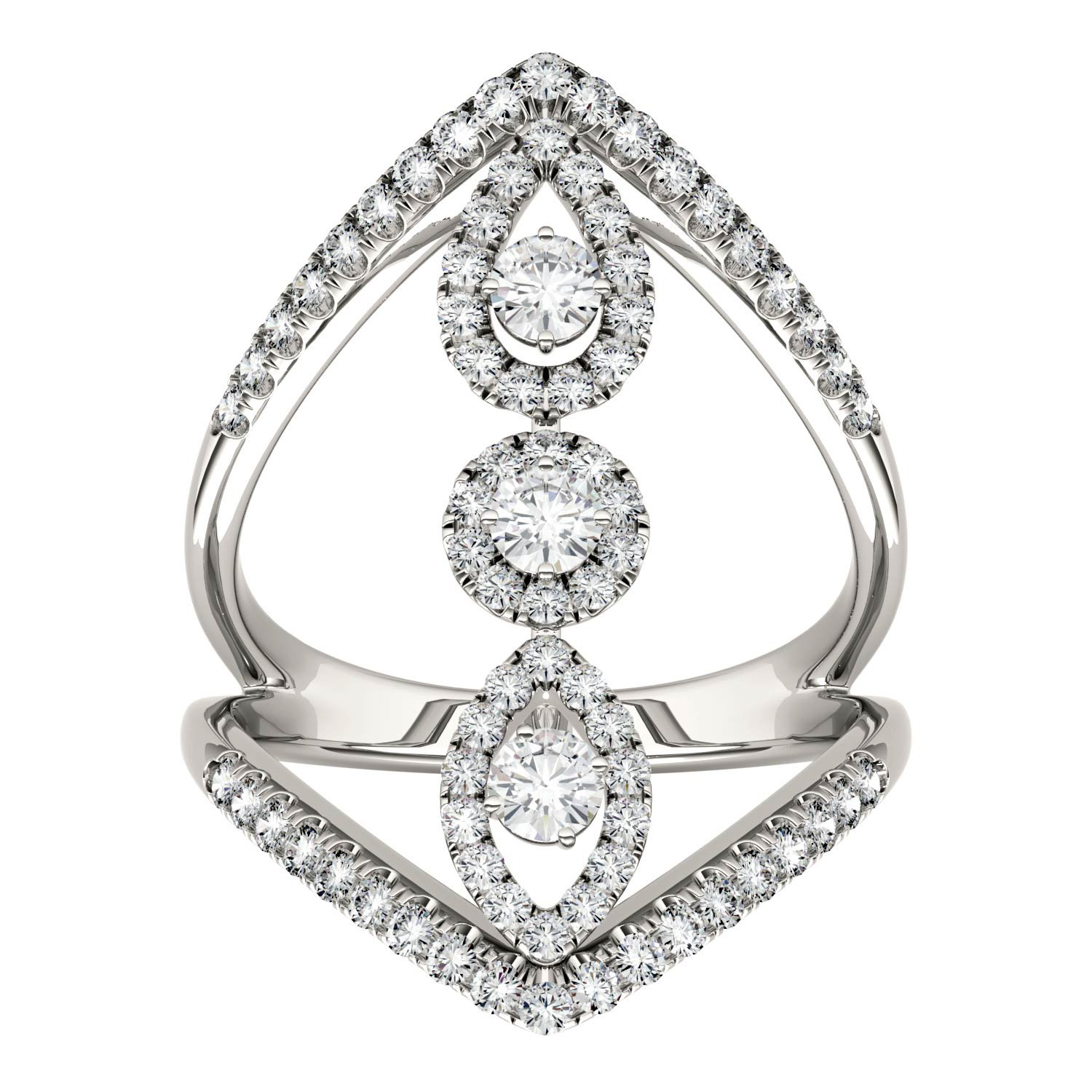 Forever Brilliant Round 3.0mm Moissanite Geometric Ring-size 5, 1.01cttw DEW By Charles & Colvard