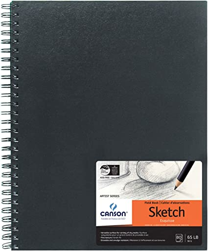 40 Sheets Double Sided Fine and Medium Texture Canson Mix Media Art Book Heavyweight French Paper 7 x 10 Inch Renewed 138 Pound Side Wire Bound