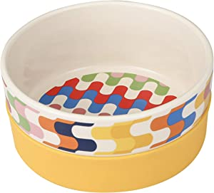 Now House for Pets by Jonathan Adler Bargello Duo Dog Bowl, Small Cute Ceramic Dog Food Bowl from Now House by Jonathan Adler for Water or Food, 4.5 Inch Dog Bowl, Yellow (FF16358)
