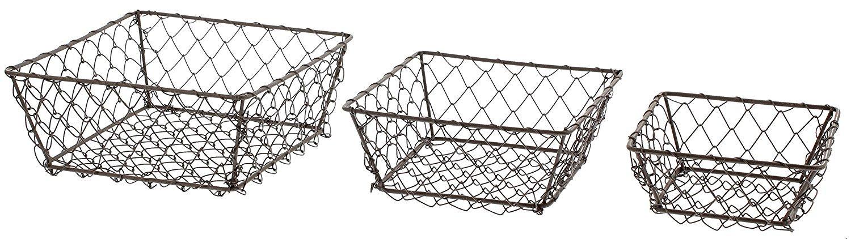 Amazon.com: Park Hill Set Of 3 Square Wire Berry Baskets ...