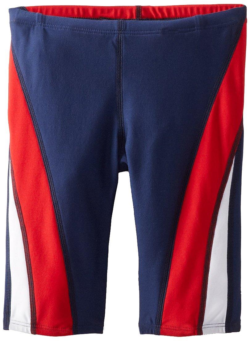 Speedo Men and Boys' Endurance+ Launch Splice Jammer Swimsuit, Navy/Red/White, 22