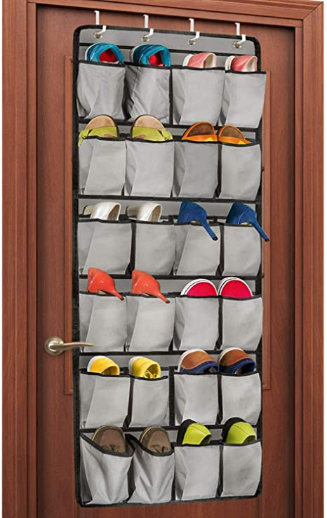 Amazon Com Unjumbly Over The Door Shoe Organizer 24 Large Pocket Shoe Rack Over The Door Complete With 4 Strong Metal Over Door Hooks Home Kitchen