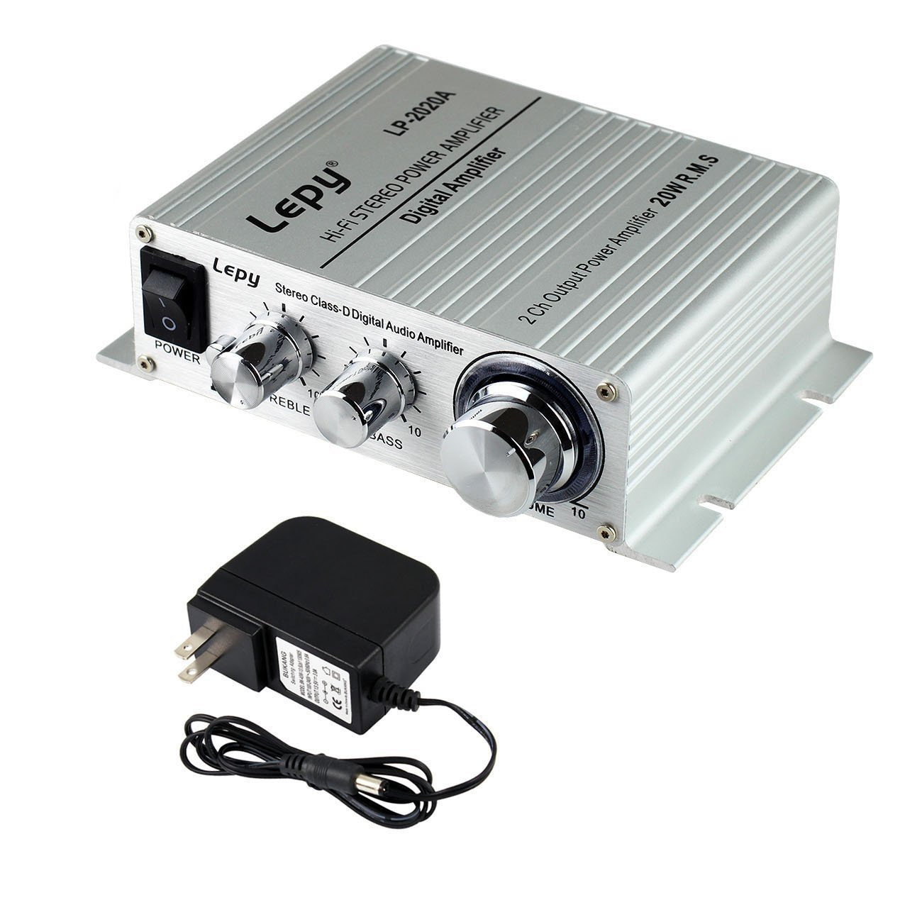 Lepy LP-2020A Power Amplifier Stereo HiFi Digital Audio Car Auto Motor Amp with 3A Power Supply Silver