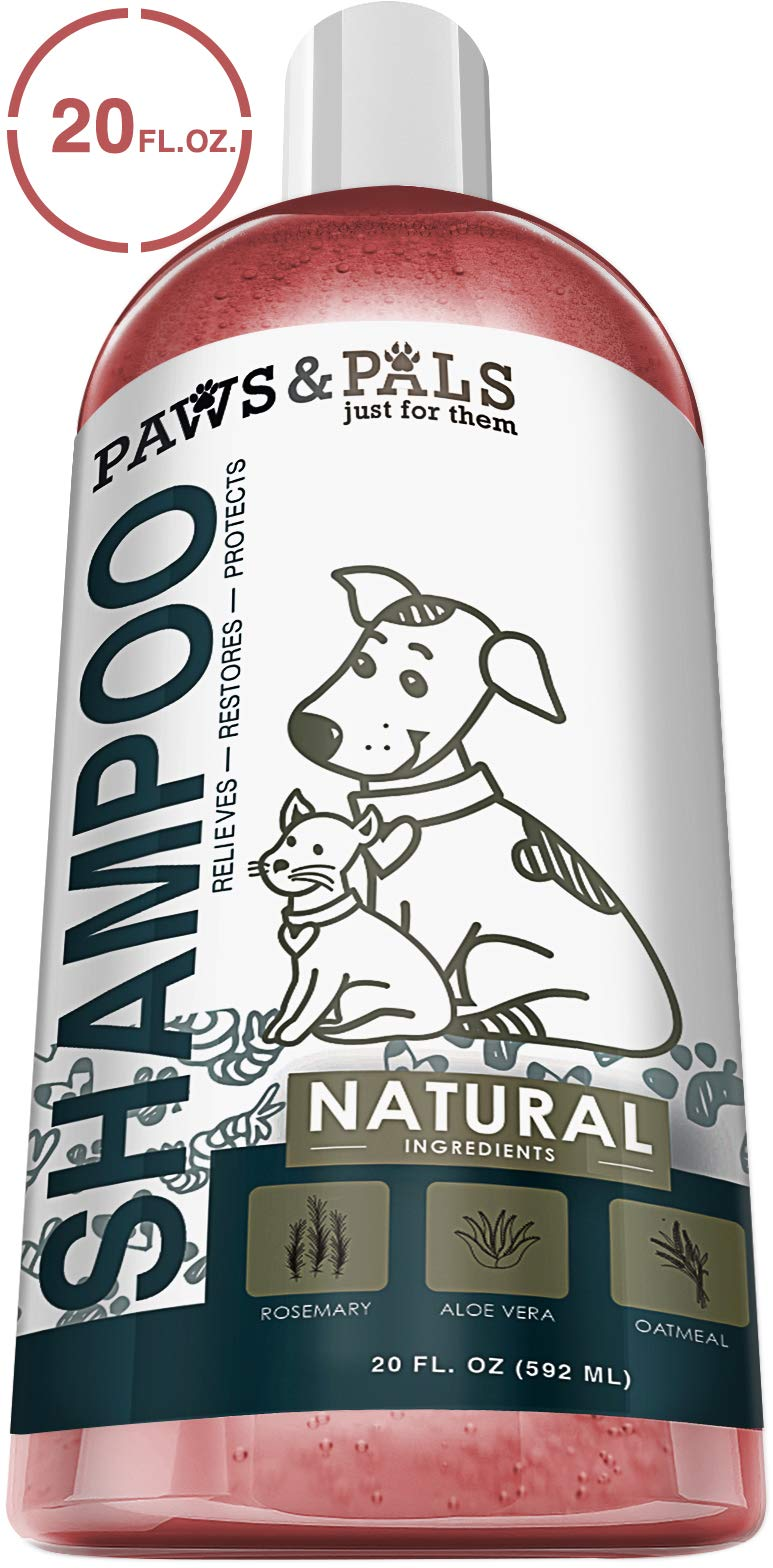 Natural Oatmeal Dog-Shampoo And Conditioner - 20oz Medicated Clinical Vet Formula Wash For All Pets Puppy & Cats - Made with Aloe Vera for Relieving Dry Itchy Skin by Paws & Pals