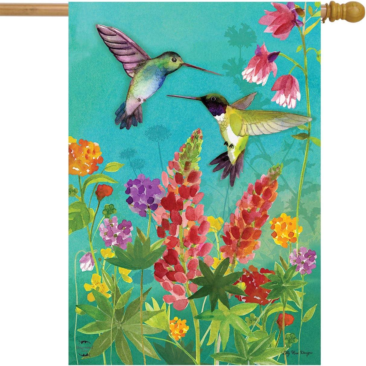 "Briarwood Lane Hummingbird Greeting Spring House Flag Floral Birds 28"" x 40"""