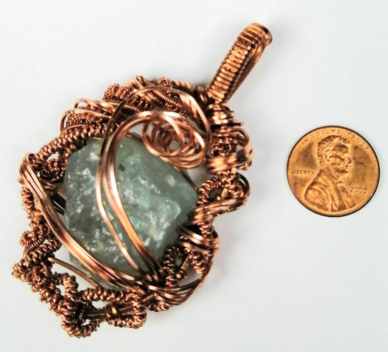 Aquamarine CabochonSpinel Crystal SpecimenRose PetalEnameled Copper Contraption Earrings