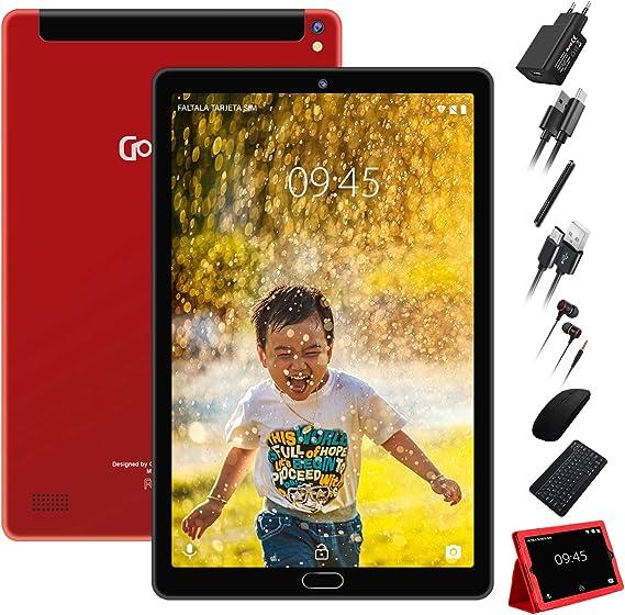 Tablet 10 Pulgadas Android 8.1 Tablet Procesador Quad-Core, 3GB de RAM, 32GB de Memoria Interna, Escalable 64GB Doble Tarjeta SIM Doble HD Cámara 8000mAh Batería, Wi-Fi Bluetooth, Rojo: Amazon.es: Informática
