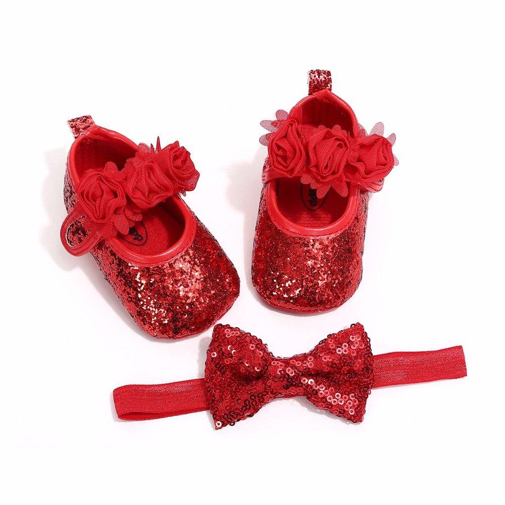 Bebila Floral Mary Jane Baby Moccasins with Elastic Headband - Summer Soft Sole Shiny Baby Girls Shoes