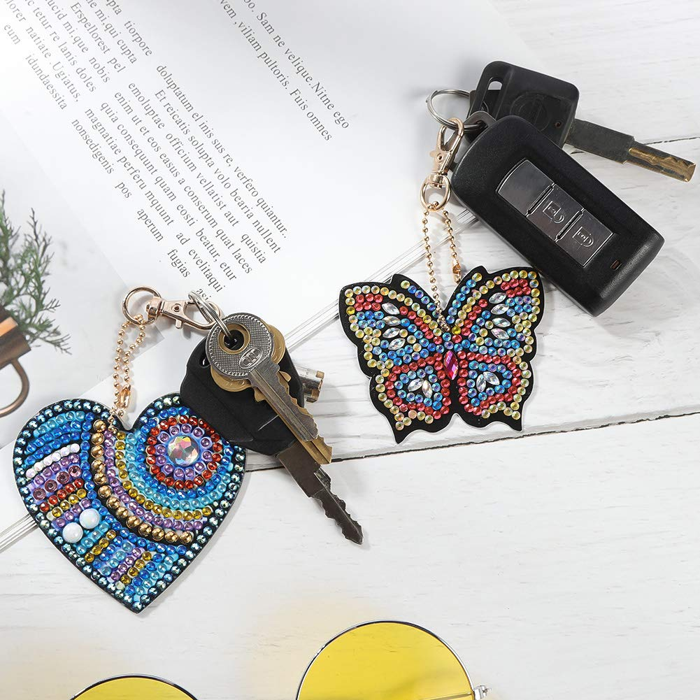 Butterfly and Love Heart Diamond Painting Kits 5D Full Drill Diamond Painting Key Rings for Phone QiaoShiRen 9 Pieces DIY Diamond Painting Keychain Bag Home Decor