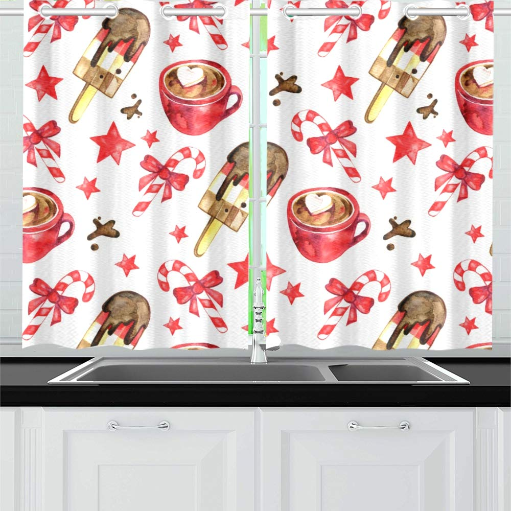 XINGCHENSS Watercolor Sweet Christmas Candy Canes Cookies Kitchen Curtains Window Curtain Tiers for Café, Bath, Laundry, Living Room Bedroom 26 X 39 Inch 2 Pieces