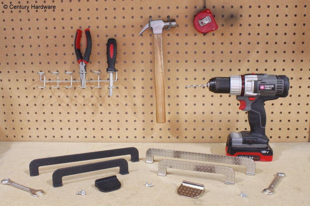 Diamond Plate Pulls, great pulls for your garage, workshop or mancave (160mm c.c., Matte Black Steel)