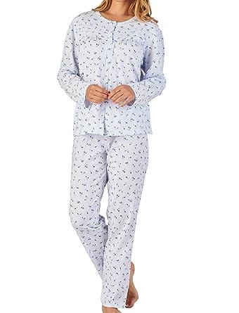 Slenderella Ladies Jersey Cotton Floral   Spot Pyjamas Button Up Top   PJ  Bottoms Set UK c0519535f