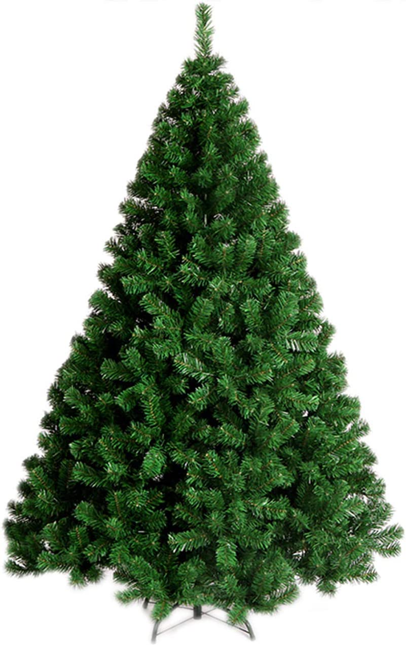 YOURFUN 6FT 900Tips Premium Hinged Artificial Christmas Pine Tree 4-7FT Easy Assembly Solid Metal Legs 300-1100 Tips (Green, 6FT/900Tips)