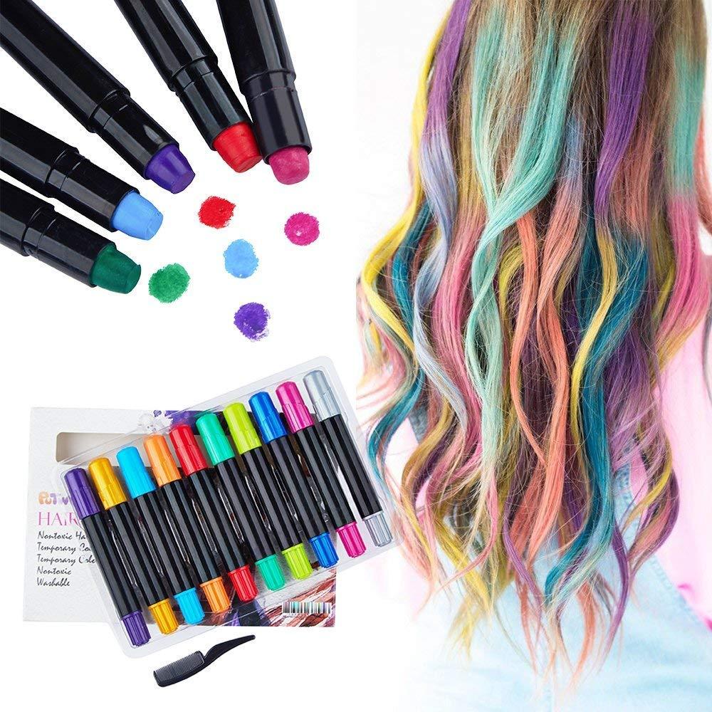 PuTwo Hair Chalk Pens 10 pcs Temporary Hair Dye Temporary Hair Color Non Toxic Hair Color Chalk Sticks Hair Coloring Chalk Hair Chalk for Girls Hair Chalk for Kids Washable DIY Hair Color