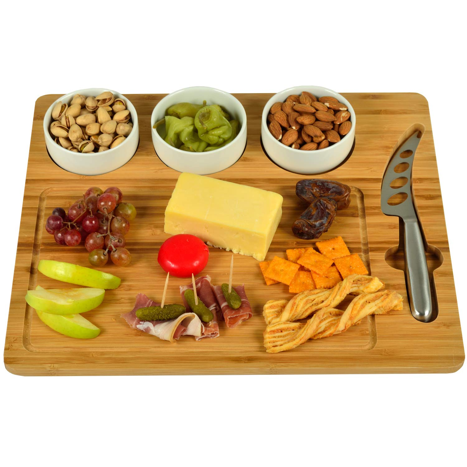 Picnic at Ascot Bamboo Charcuterie Platter with 3 Ceramic Bowls & Cheese Knife - 15'' x 13'' - Designed & Quality Checked in the USA