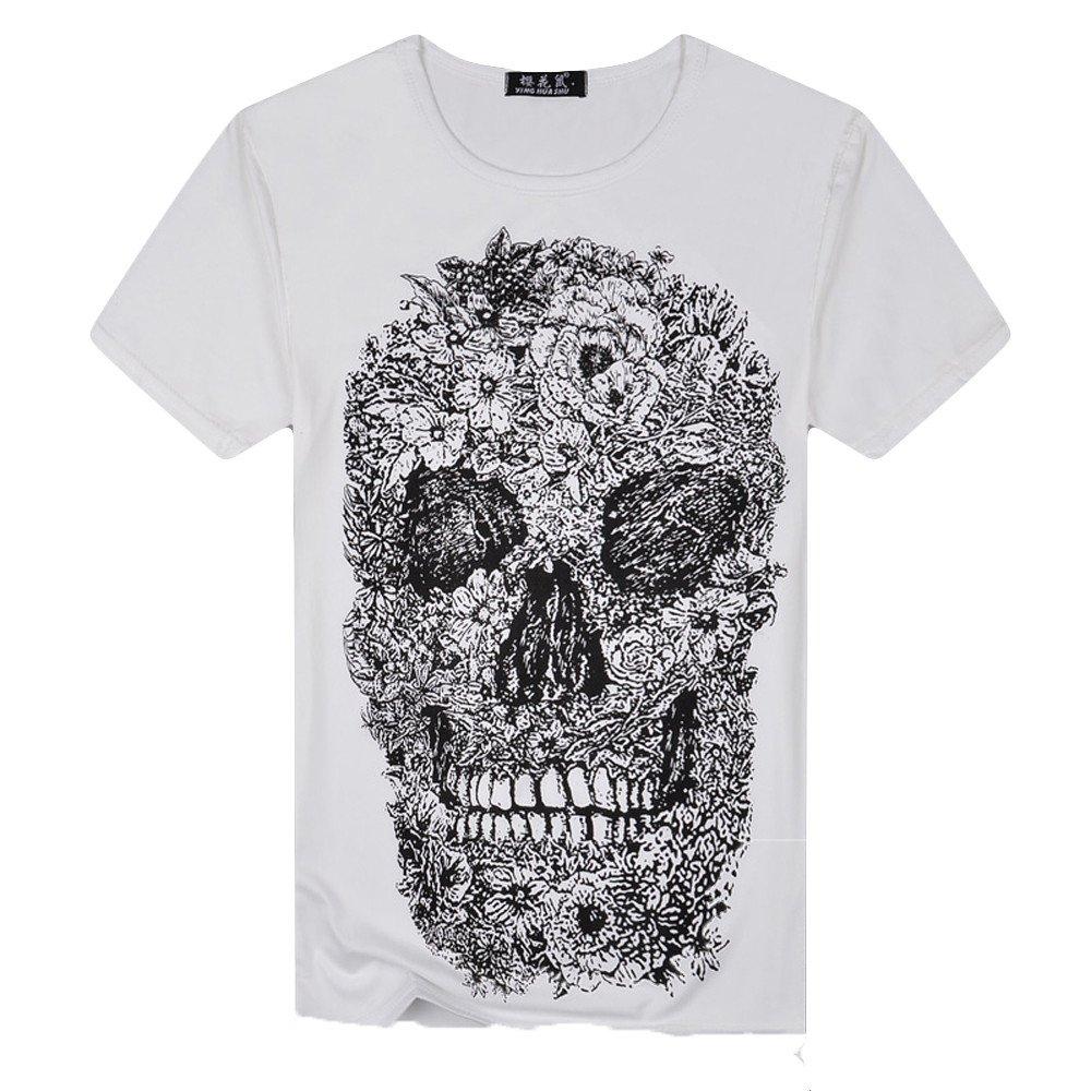 Summer Polo T-Shirt Chaleco Verano Impresi/ón del cr/áneo Top de Manga Corta Basic Algod/ón tee ASHOP Camisetas Hombre