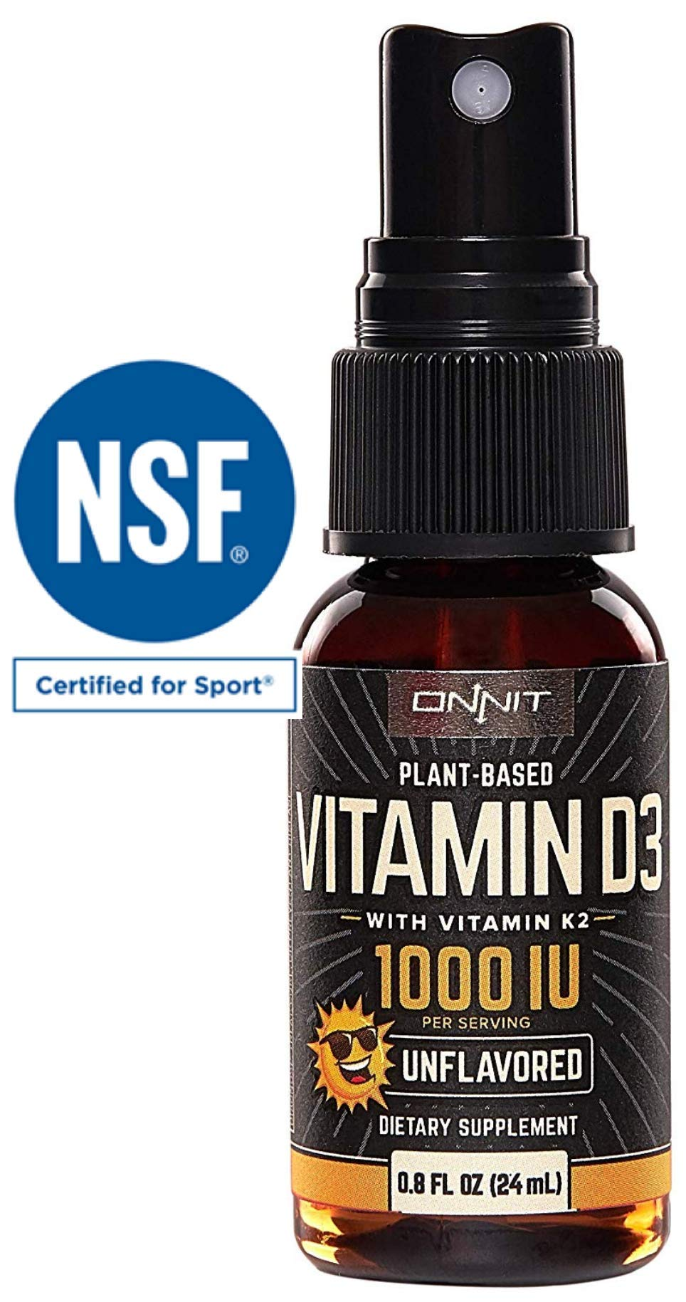 Vegan Vitamin D3 Spray with Vitamin K2 by Onnit | 1000 IU Per Serving | Unflavored | 24ml Per Bottle