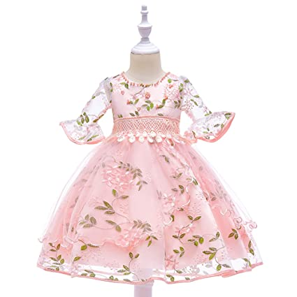 0632856396e Amazon.com   NOMSOCR Kids Lace Flower Costume Princess Pageant Dress Girl  Prom Ball Gown (3-4 Years