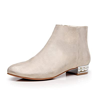 Women's Addison Zip Closure Glamour Pearl Embellished Chunky Heel Ankle Boot