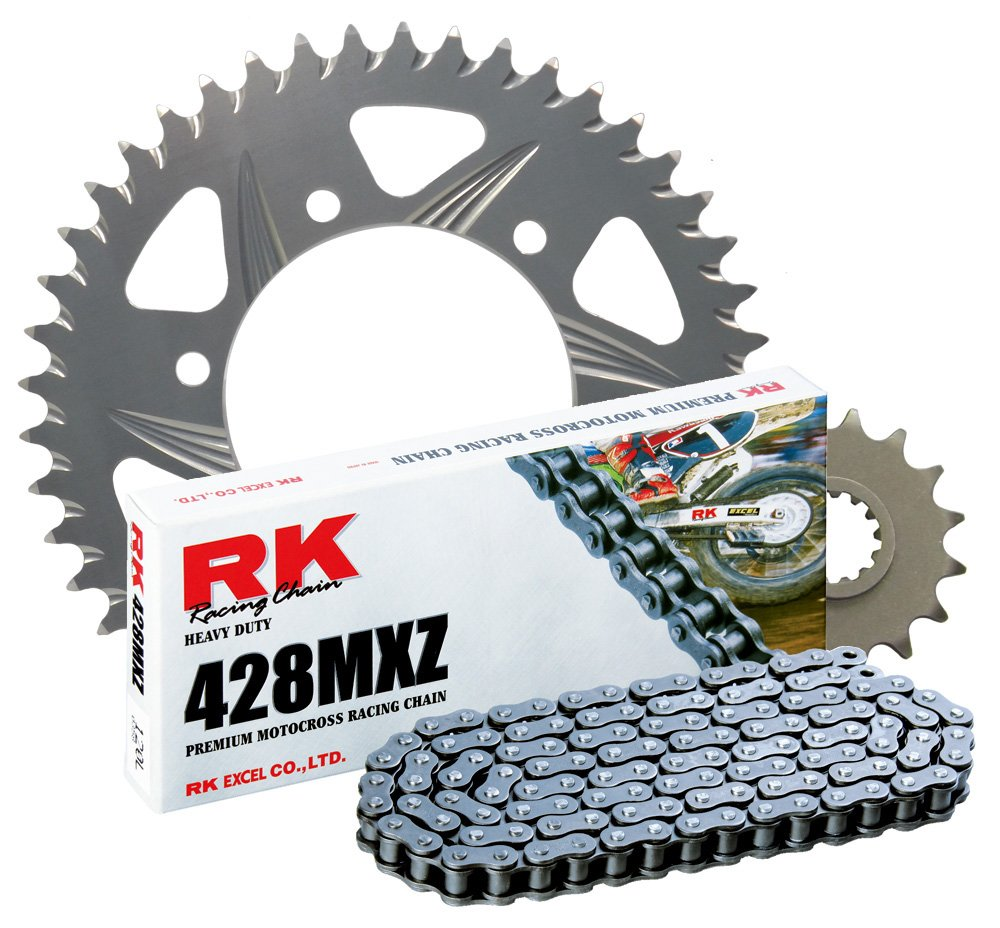 RK Racing Chain 4002-028Z Silver Aluminum Rear Sprocket and 428MXZ Chain Race Kit