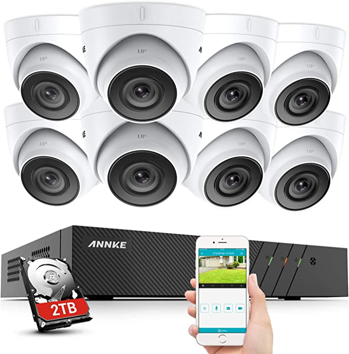 ANNKE 8CH 5MP Super HD PoE Network Home Security Camera System+2TB HDD, 8X 5MP Wired Outdoor PoE IP Cameras, 100ft HD Waterproof Cameras with EXIR LEDs, App Push Alert, Remote Access