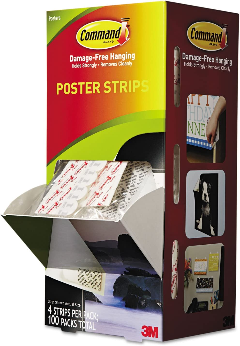 3M 3/4 x 2 1/8 Inches Command Poster Strips, White, 100/Carton (MMM17024CABPK)