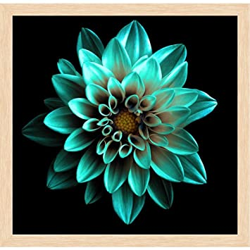 Pitaara Box Turquoise Flower Dahlia Canvas Painting Natural Brown ...