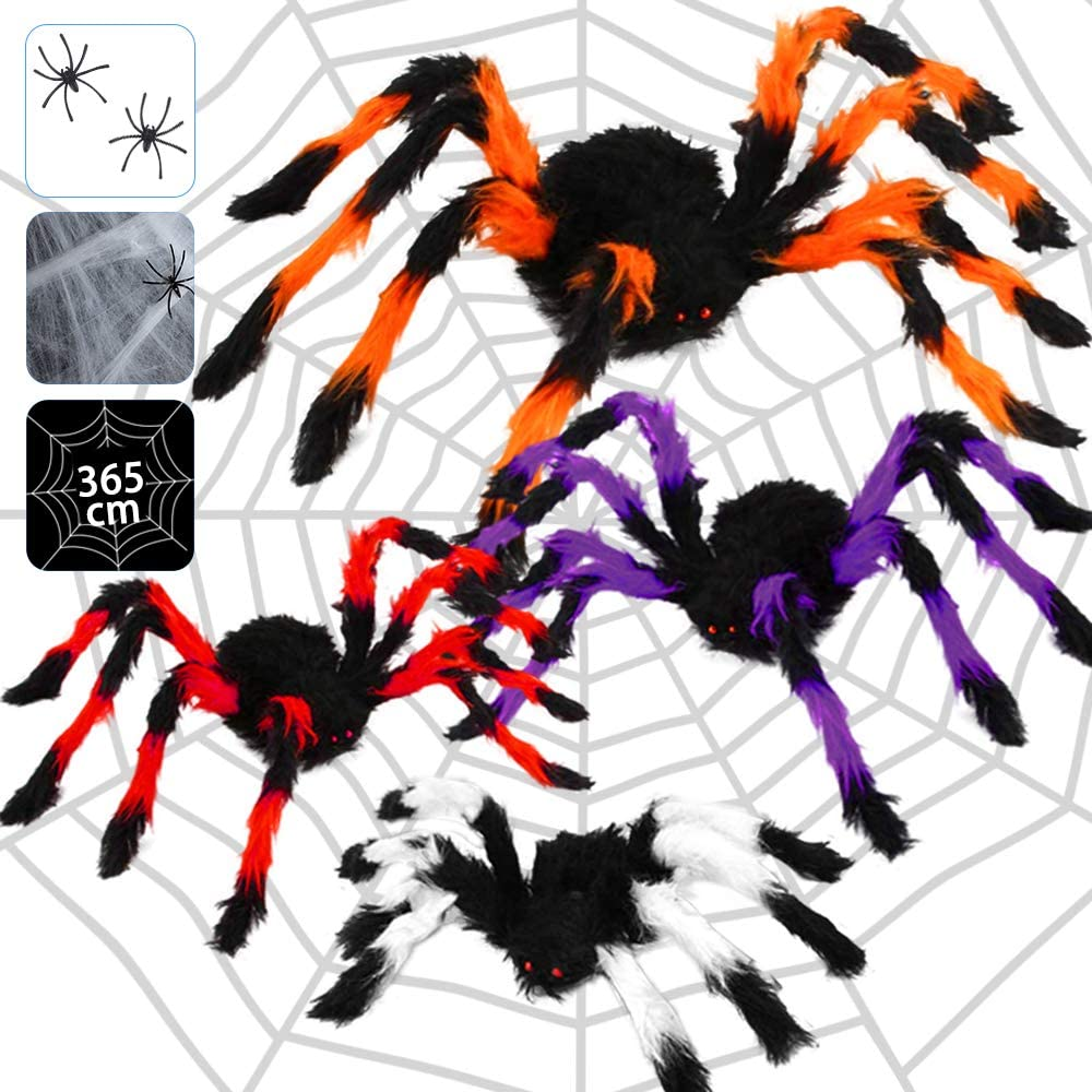 Halloween Spider Decorations, Halloween Scary Hairy Spider Web Set, Include 4 Pack Fake Colorful Spider, 12ft Spider Web,Stretch Cobweb+2 Small Plastic Spiders for Indoor Outdoor Yard CreepyDecor