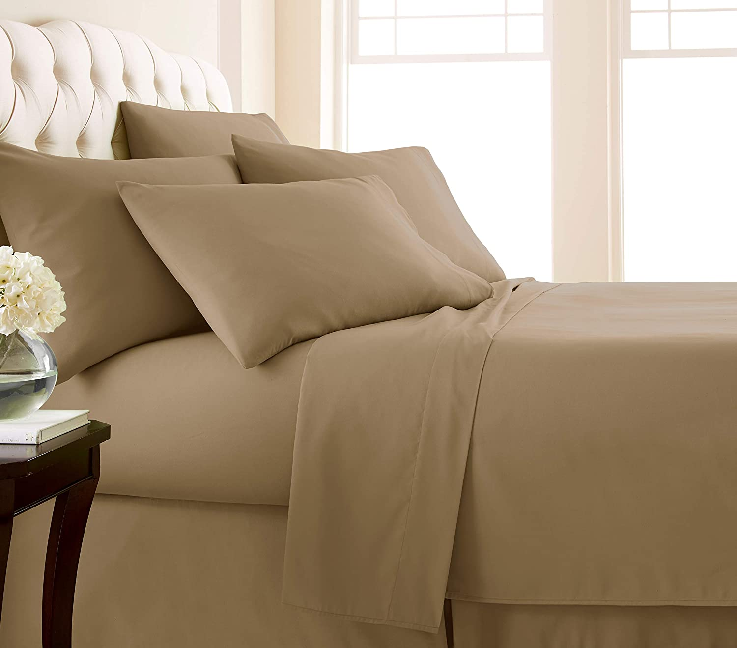 Southshore Fine Living, Inc. Vilano Springs - Premium Collection 6-Piece, 21 Inch Extra-Deep Pocket Sheet Sets, Taupe, King