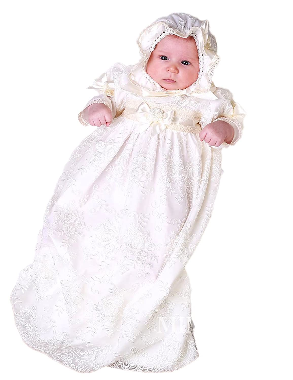 BuyBro Baptism Christening Gowns Dress Flowers Headband Crystal Belt for Baby Girls
