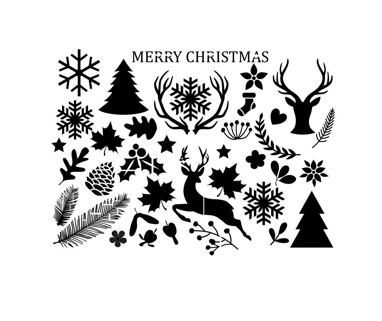 Set of Christmas Decoration Reausable Stencil Deer Tree Snow Flake Leaves / SNOW33 (PVC Reusable Stencil, A3 Size - 297 x 420 mm, 11.7 x 16.5 in) Artistic Sponge