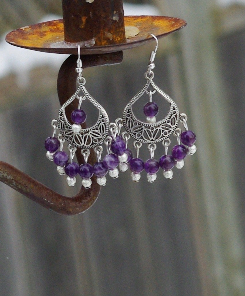 Amethyst Statement Chandelier Earrings