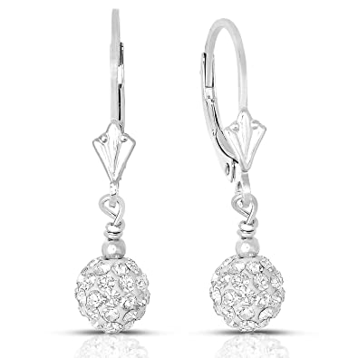 ea32540685a52 Sterling Silver Dangle Crystal Ball Drop Earrings with Leverback