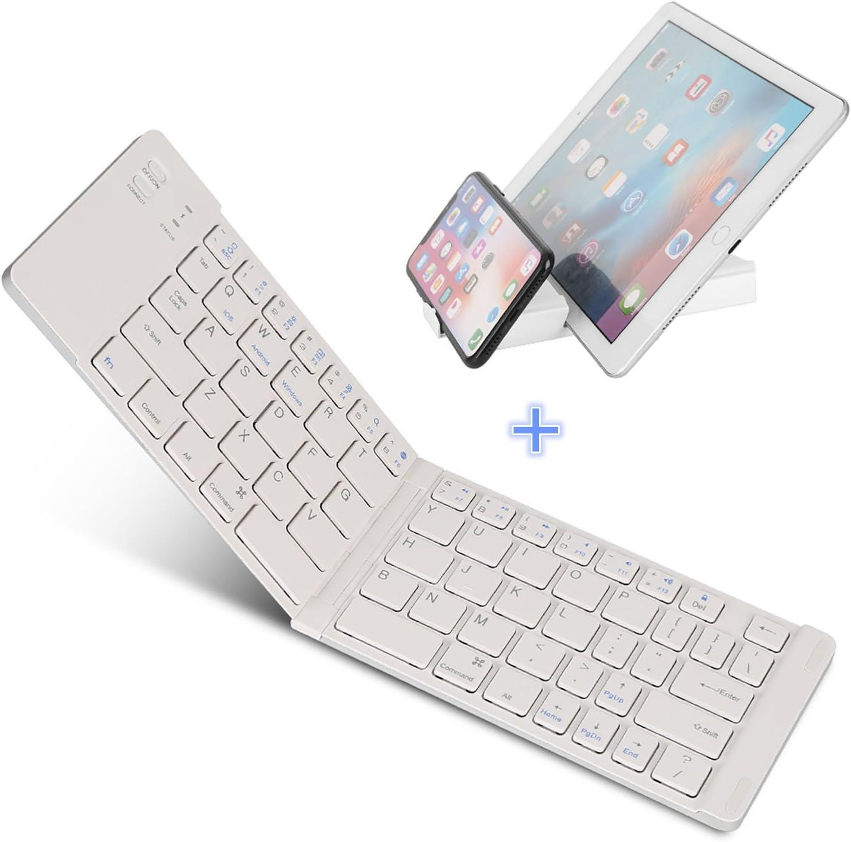 Teclado Bluetooth plegable, IKOS Ultra Slim Mini Teclado plegable BT para iPhone X 8 7 6S 6 Plus, iPad Mini / Pro / Air, Smartphones / Tabletas Android de Samsung y dispositivo con sistema Windows