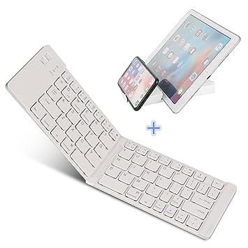 IKOS Teclado Bluetooth Plegable, Ultra Slim Mini Teclado Plegable BT para iPhone X 8 7