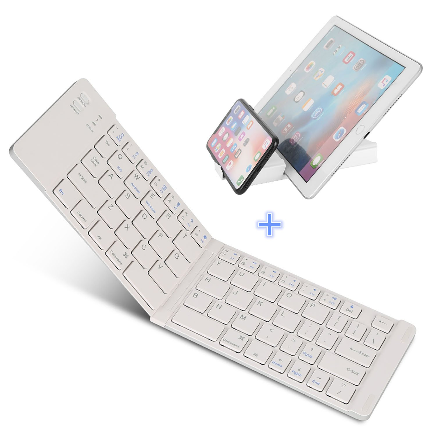Bluetooth Folding Keyboard, IKOS Ultra Slim Pocket Size Foldable Keyboard For iOS/Android / Windows, iPad Mini, iPad Pro, iPhone, Smartphones, Windows, Smart TV, Tablets, With Rechargable Battery
