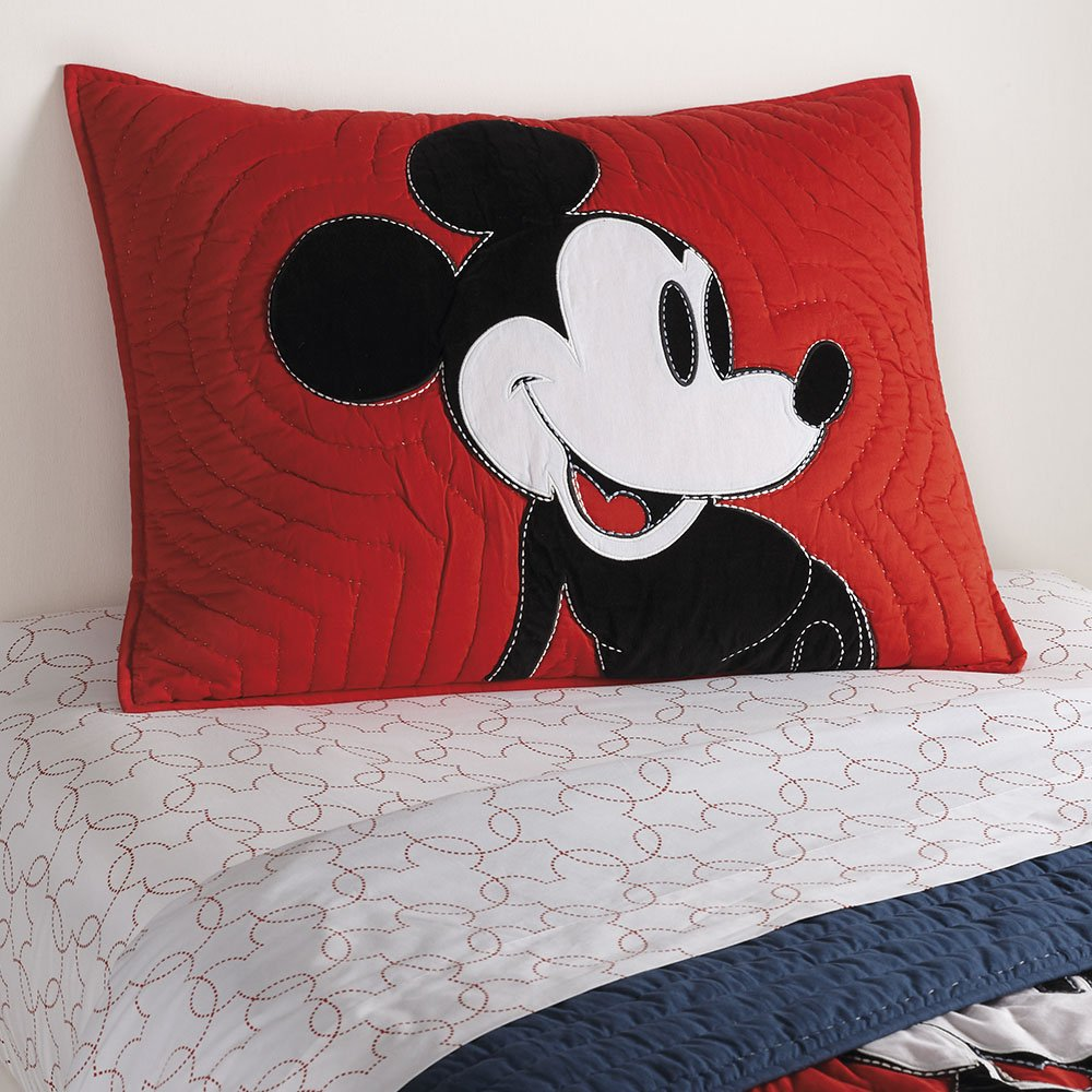 Ethan Allen | Disney  Color Block Mickey Mouse Sham, Standard, Mickey's Shorts Red by Ethan Allen