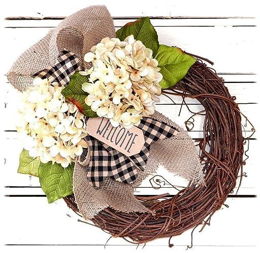 Decorative Cream Hydrangea Wreath For Front Door   Handcrafted All Season  Wreath For Spring, Summer