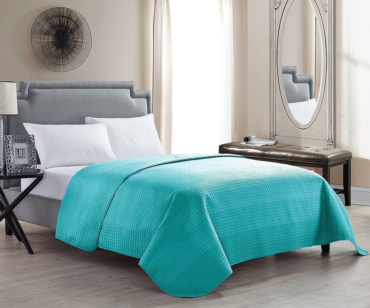 HollyHOME Solid Color Bed Quilt Coverlet for Full/Queen Size Bed, Teal