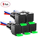Nilight 50023R 5 Pack 30A Fuse Relay car Truck Socket kit-30A Switch Harness Set-12V DC 4-Pin SPST Automotive 14 AWG Hot Wire