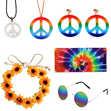 5 Pieces Hippie Costume Set,Sunglasses Peace Sign Necklace Earrings Dye Headband Bandana Colorful Bracelets for 70s Hippie Accessories